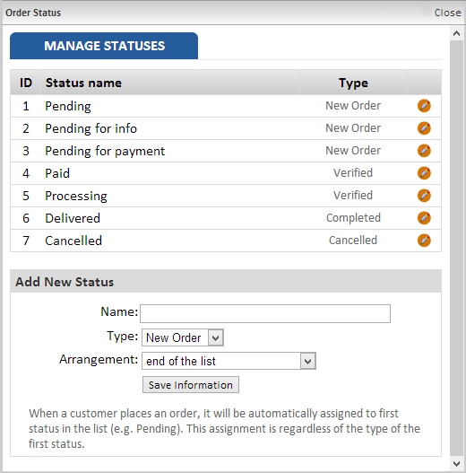 Manage Statuses page